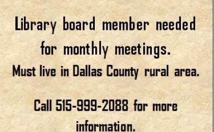 Library board member needed